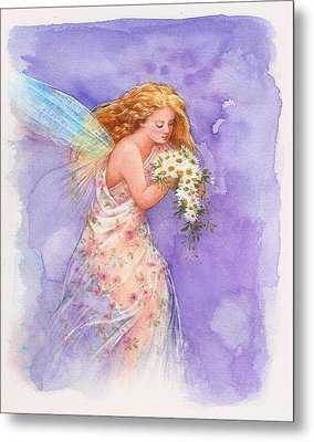 Metal Print featuring the painting Ethereal Daisy Flower Fairy by Judith Cheng