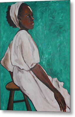 Ethiopian Woman In Green Metal Print by Esther Newman-Cohen
