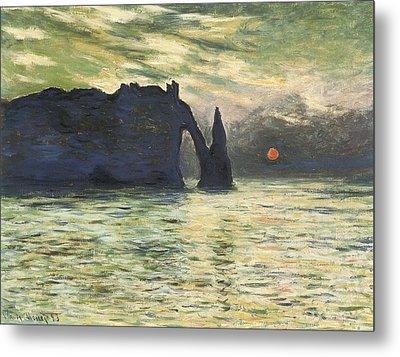 Etretat Sunset Metal Print by Claude Monet