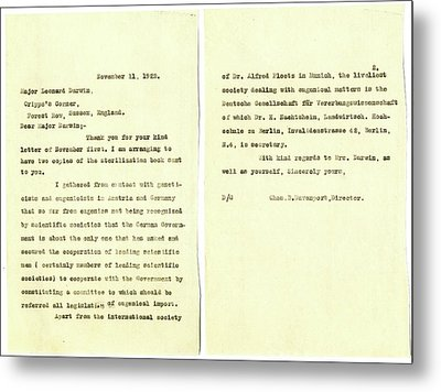 Eugenics Correspondence Metal Print by American Philosophical Society