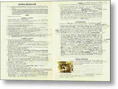 Eugenics Data Collection Metal Print by American Philosophical Society