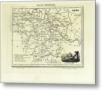 Eure, France Pittoresque, Map Metal Print