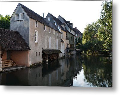 Eure River And Old Fulling Mills In Chartres Metal Print