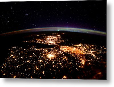 Metal Print featuring the photograph Europe At Night, Satellite View by Science Source