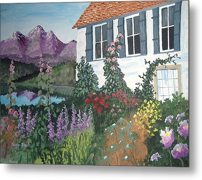 Metal Print featuring the painting European Flower Garden by Norm Starks
