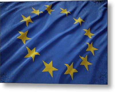 European Union Flag Waving On Aged Canvas Metal Print by Eti Reid