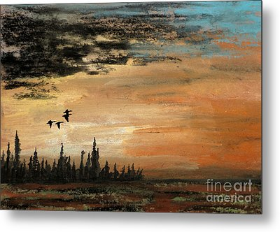 Evading A Storm Metal Print by R Kyllo