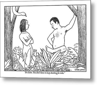 Eve Is Seen Speaking With Adam Who Is Examining Metal Print