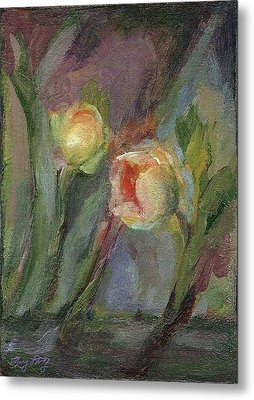 Metal Print featuring the painting Evening Bloom by Mary Wolf