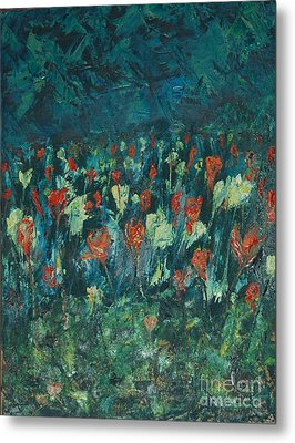 Metal Print featuring the painting Evening Buds by Mini Arora