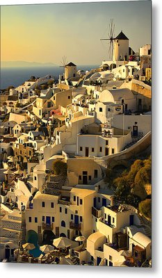 Metal Print featuring the photograph evening in Oia by Meirion Matthias