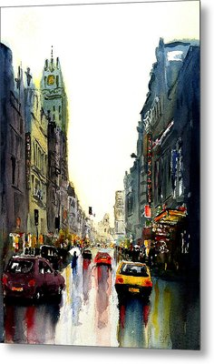 Metal Print featuring the painting Evening In The City by Steven Ponsford