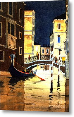 Metal Print featuring the painting Evening Lights - Venice by Bill Holkham
