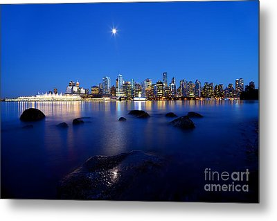 Evening Moon Over Vancouver Harbour 2 Metal Print by Terry Elniski