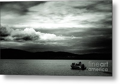 Metal Print featuring the pyrography Evening On The Lake by Evgeniy Lankin