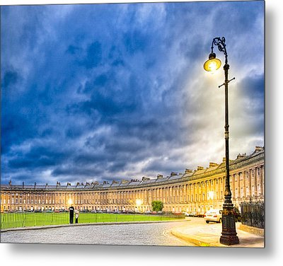 Evening On The Royal Crescent In Bath Metal Print by Mark E Tisdale