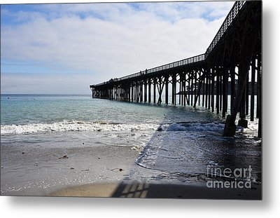 Metal Print featuring the photograph Evening Pier Shadows Are Lost In The Surf by Debby Pueschel