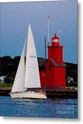 Evening Sail At Holland Light Metal Print by Nick Zelinsky