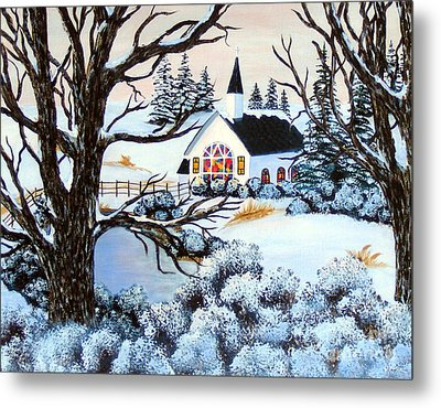 Metal Print featuring the painting Evening Services by Barbara Griffin