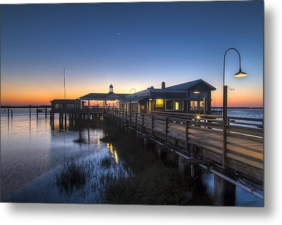Evening Sky At The Dock Metal Print by Debra and Dave Vanderlaan
