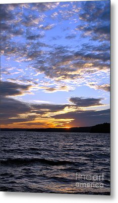 Evening Sky Over Lake Metal Print by Olivier Le Queinec