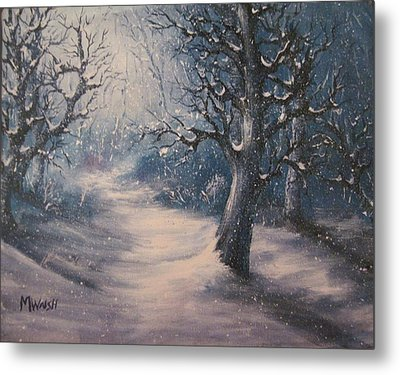 Metal Print featuring the painting Evening Snow by Megan Walsh
