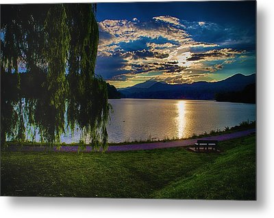 Evening Sun Kisses Lake One Last Time Metal Print by Dennis Baswell