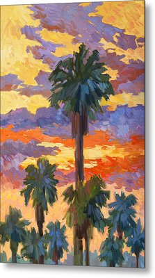 Evening Sunset And Palms Metal Print by Diane McClary