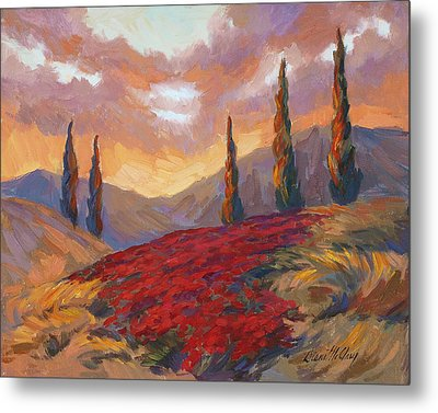 Evening Sunset In Tuscany Metal Print by Diane McClary