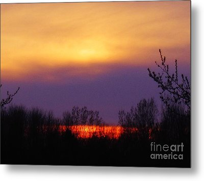 Evening Sunset Lake Metal Print by Judy Via-Wolff