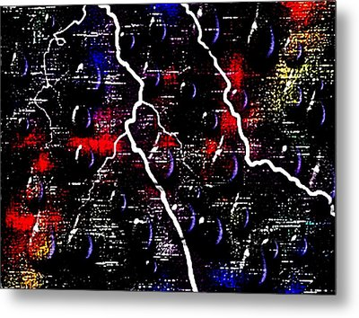 Evening Thunderstorm In Center City Metal Print by L Brown