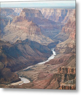 Evening Twilight Reflected From Colorado River Meandering Through Grand Canyon National Park Square Metal Print by Shawn O'Brien
