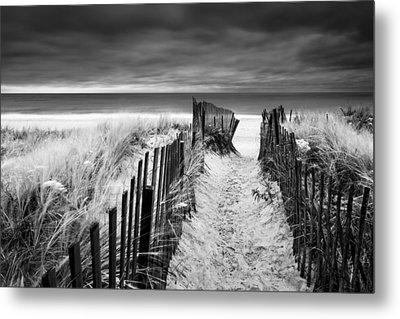 Evening Wave Check Bw Metal Print