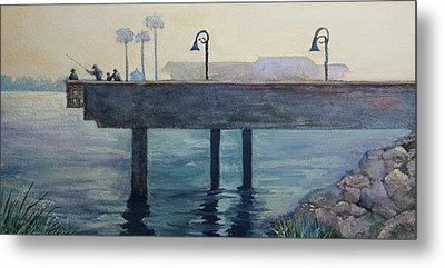 Metal Print featuring the painting Eventide At The Oceanside Harbor Fishing Pier by Jan Cipolla