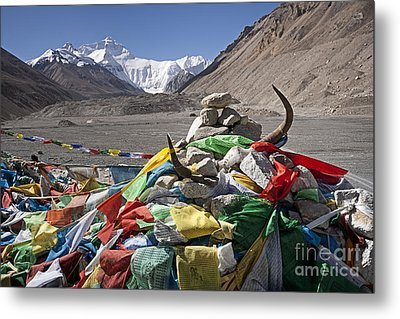 Everest And Prayer Flags Metal Print by Hitendra SINKAR