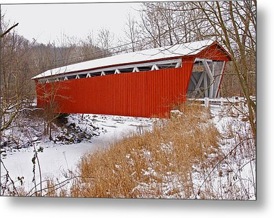 Everett Rd. Covered Bridge In Winter Metal Print