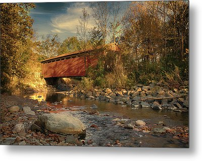 Everett Rd Summit County Ohio Covered Bridge Fall Metal Print by Jack R Perry