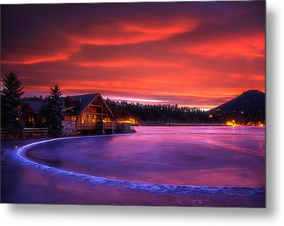 Evergreen Lake Sunrise Metal Print