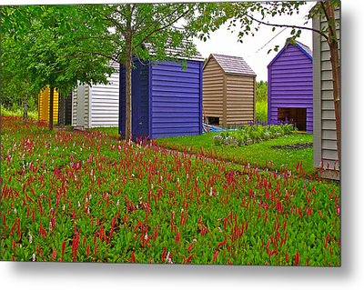 Every Garden Needs A Shed And Lawn In Les Jardins De Metis/reford Gardens-qc Metal Print by Ruth Hager