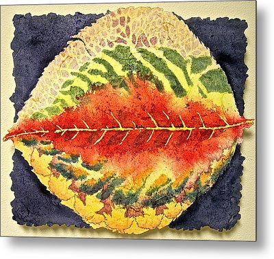 Metal Print featuring the painting Every Leaf Has Another Story by Carolyn Rosenberger