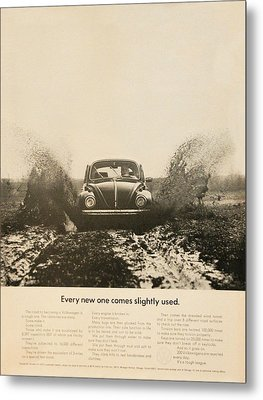 Every New One Comes Slightly Used - Vintage Volkswagen Advert Metal Print by Georgia Fowler