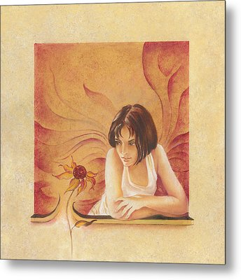 Everyday Angel With Flower Metal Print by Anna Ewa Miarczynska