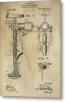 Evinrude Outboard Marine Engine Patent  1910 Metal Print by Daniel Hagerman