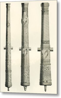 Examples Of Cannons. From Left To Right, A German Nachtigall Cannon Cast In Brunswick, Germany Metal Print by Bridgeman Images