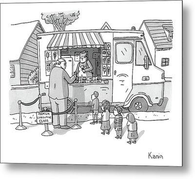 Exec Cuts Children In Line For Ice Cream Metal Print