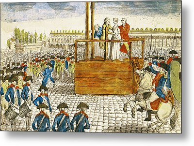 Execution Of Marie-antoinette 1755-93 In The Place De La Revolution, 16th October 1793 Coloured Metal Print by French School