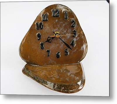 Executive Desk Clock In Gold Moss Agate Natural Stone Tos3411 Metal Print by W Bruce Watts