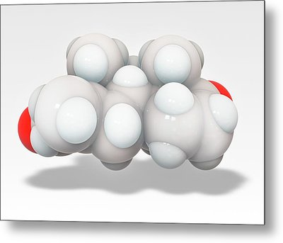Exemestane Breast Cancer Drug Molecule Metal Print by Ramon Andrade 3dciencia