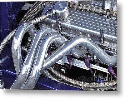 Exhaust Manifold Hot Rod Engine Bay Metal Print by Allen Beatty