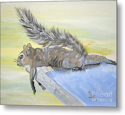 Exhausted Little Nevada Squirrel Metal Print by Phyllis Kaltenbach